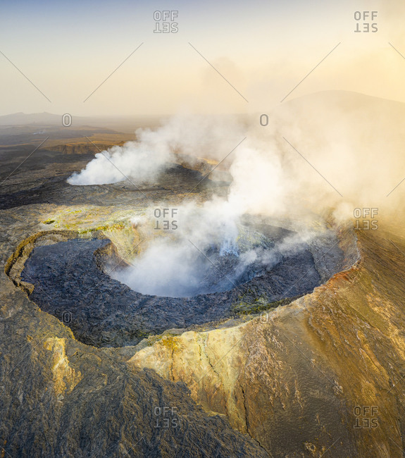 Panoramic aerial view of the active Erta Ale volcano caldera, Danakil Depression, Afar Region, Ethiopia, Africa