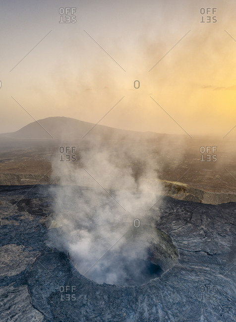 Panoramic aerial view of sunset over the active Erta Ale volcano crater, Danakil Depression, Afar Region, Ethiopia, Africa