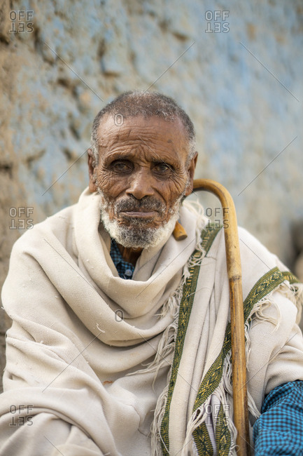 January 31, 2020: Portrait of Ethiopian senior man with traditional clothing and stick, Abala, Afar Region, Ethiopia, Africa