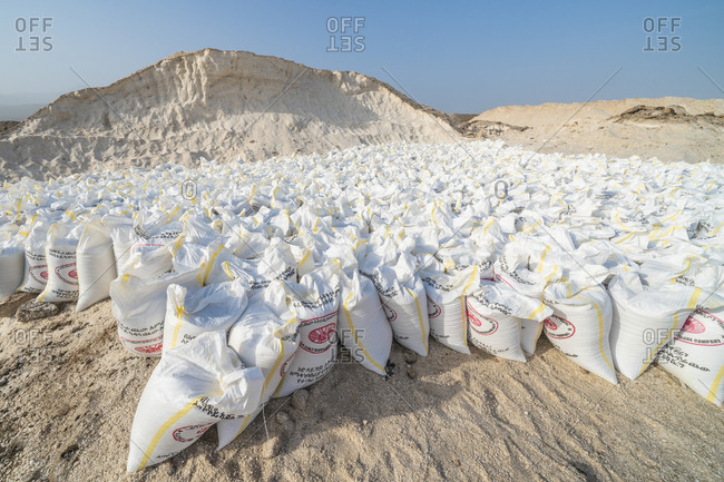 January 30, 2020: Salt bags in the salt mine of Lake Afrera (Lake Afdera), Danakil Depression, Afar Region, Ethiopia, Africa