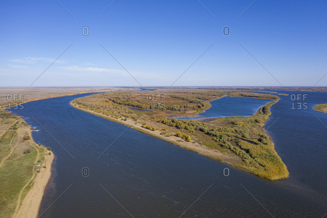 Aerial by drone of the Volga River, Astrakhan Oblast, Russia, Eurasia