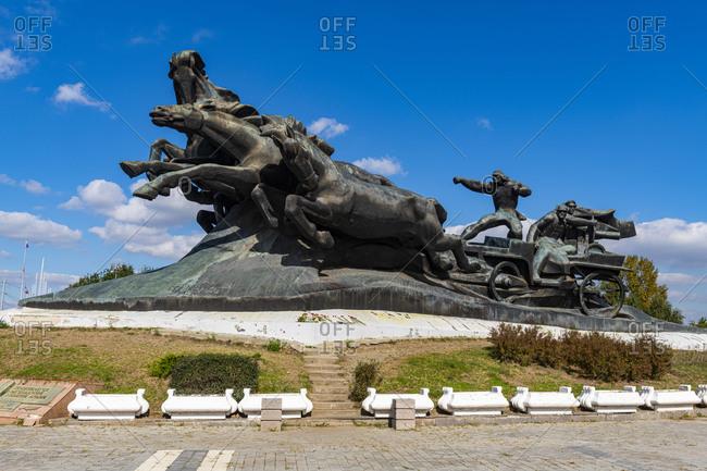 October 2, 2019: Tachanka Monument, Rostov-on-Don, Rostov Oblast, Russia, Eurasia