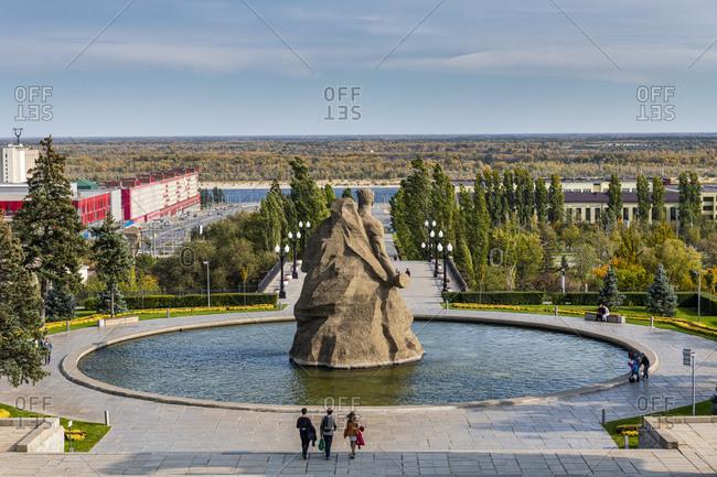 October 4, 2019: Huge pool with a giant statute on Mamayev Kurgan, Volgograd, Volgograd Oblast, Russia, Eurasia