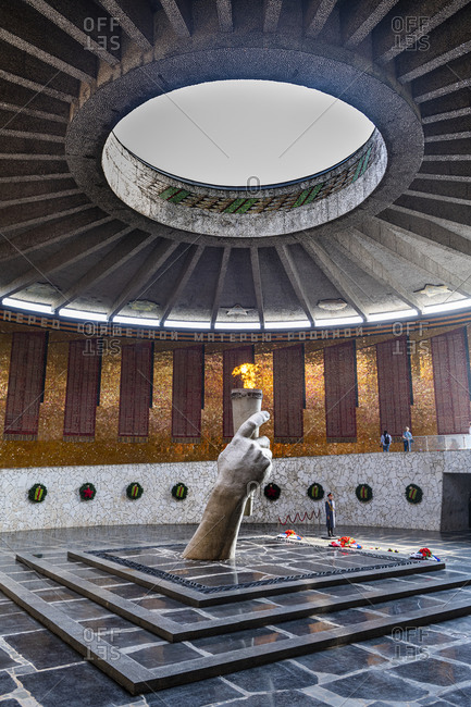 October 4, 2019: Eternal flame on Mamayev Kurgan, Volgograd, Volgograd Oblast, Russia, Eurasia
