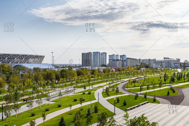 October 4, 2019: Volgograd arena and Mamayev Kurgan, Volgograd, Volgograd Oblast, Russia, Eurasia