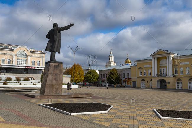 October 7, 2019: Lenin statue in Yelets, Lipetsk Oblast, Russia, Eurasia