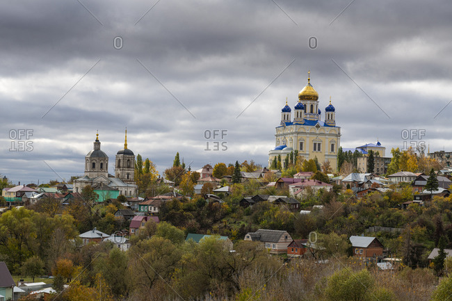Yelets Cathedral overlooking the Bystraya Sosna River, Yelets, Lipetsk Oblast, Russia, Eurasia