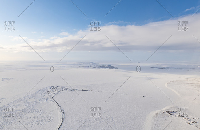 Aerial of Anadyr, easternmost city in Russia, Chukotka autonomous Okrug, Russia, Eurasia