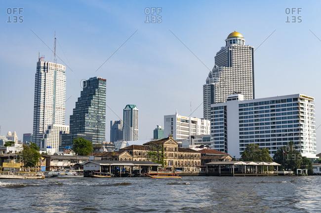 January 31, 2020: Skyline of Bangkok, Chao Phraya River, Bangkok, Thailand, Southeast Asia, Asia