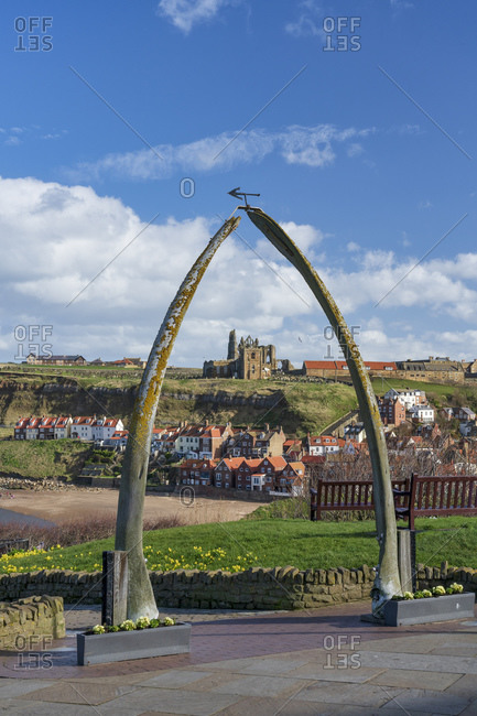 March 12, 2020: Whitby Abbey, St. Mary's Church viewed through the Whale bones on the west cliff, and the River Esk, Whitby, Yorkshire, England, United Kingdom, Europe