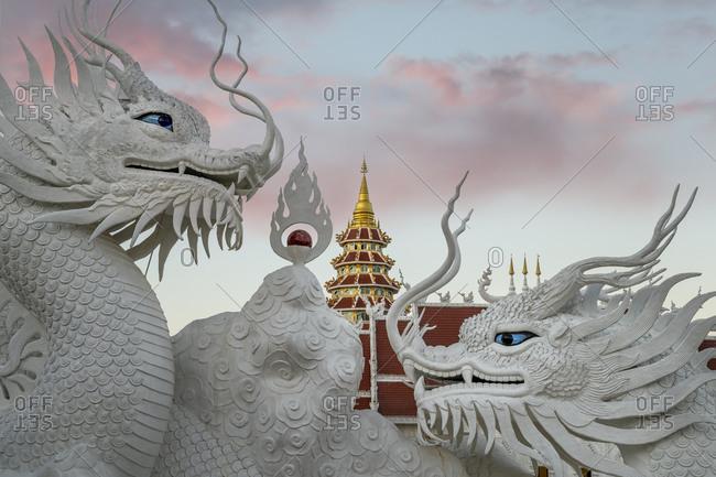 January 1, 2020: Wat Huay Pla Kang temple (Big Buddha) at dusk, Chiang Rai, Thailand, Southeast Asia, Asia