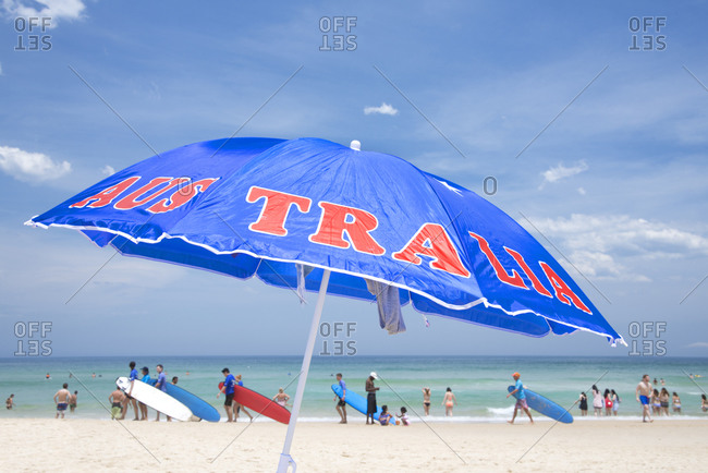 Australia umbrella at Bondi Beach, Sydney, New South Wales, Australia, Pacific