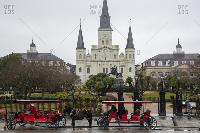 February 5, 2020: Jackson Square in the French Quarter on a dreary, foggy day before Mardis Gras, New Orleans, Louisiana, United States of America, North America