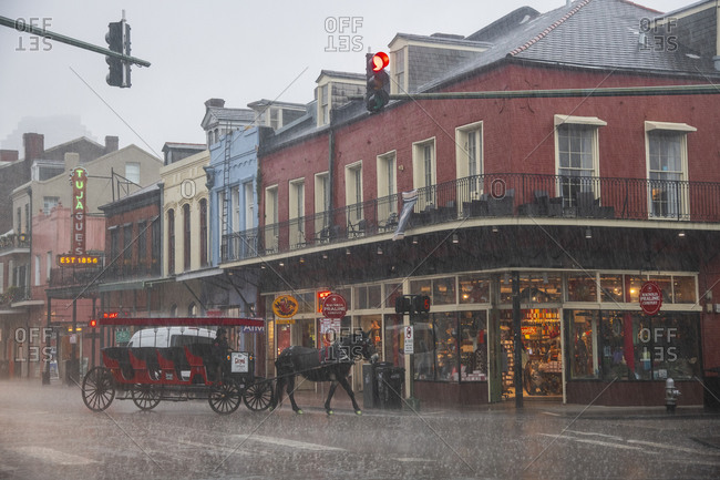 February 5, 2020: A horse dashes along the street trying to escape a sudden downpour during a storm in New Orleans. French Quarter, New Orleans, Louisiana, United States of America, North America