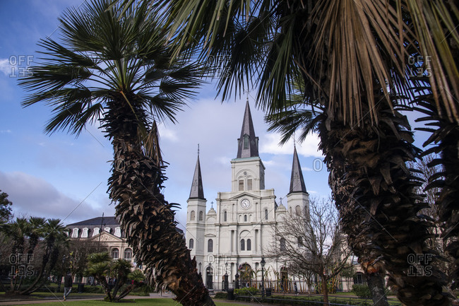 February 6, 2020: St. Louis Cathedral in Jackson Square, French Quarter, New Orleans, Louisiana, United States of America, North America