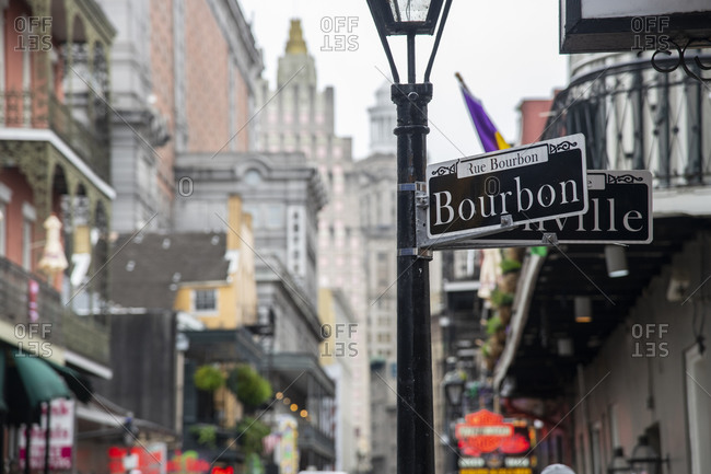 February 6, 2020: Bourbon Street, the epicenter of nightlife in the French Quarter of New Orleans, Louisiana, United States of America, North America