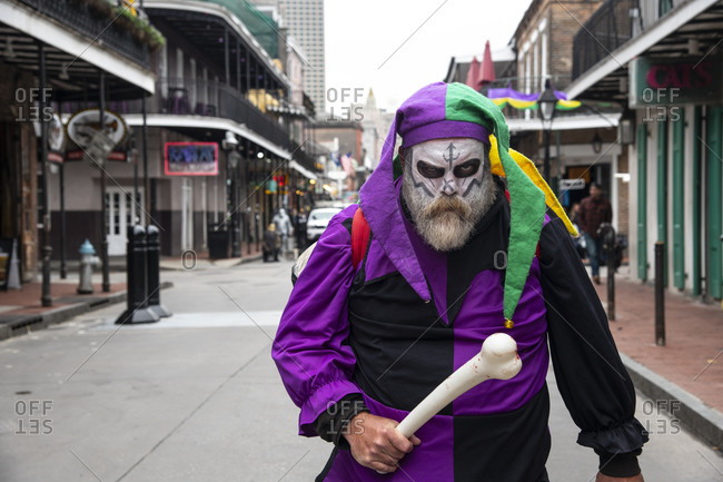 February 6, 2020: Man dressed up for Mardis Gras in the French Quarter of New Orleans, Louisiana, United States of America, North America