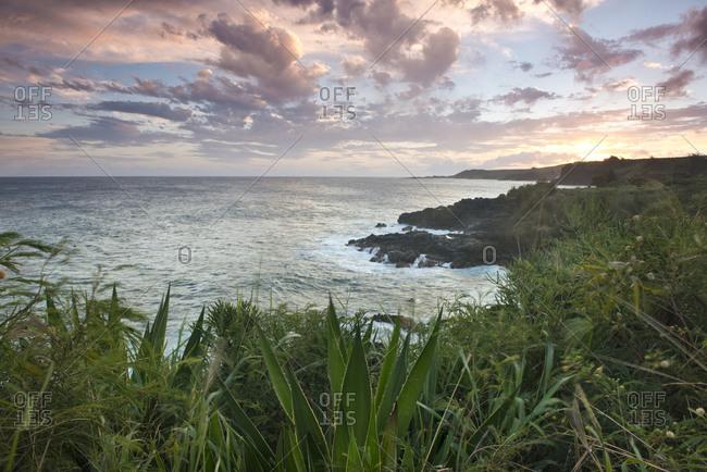 South coast of Kauai at sunset, Hawaii, United States of America, North America