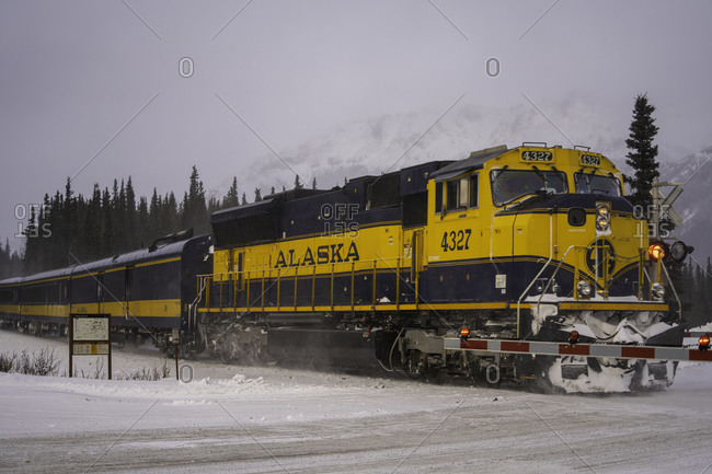 March 3, 2020: Alaskan Railroad going through Denali National Park in the winter, Alaska, United States of America, North America