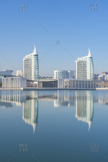 January 14, 2019: Reflection of Pavilhao de Portugal, Expo 98, in Parque das Nacoes (Park of the Nations), Lisbon, Portugal, Europe