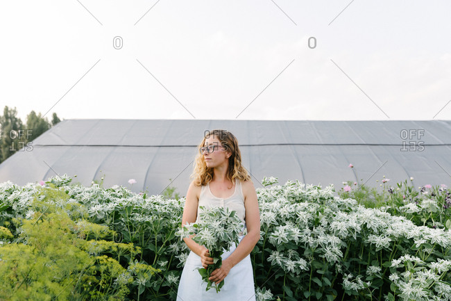 Woman holding a bouquet of fresh cut flowers in a field with a greenhouse behind