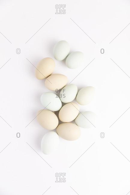 Pile of fresh farm eggs