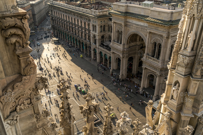 Italy- Milan- view from Milan Cathedral roof to Piazza del Duomo