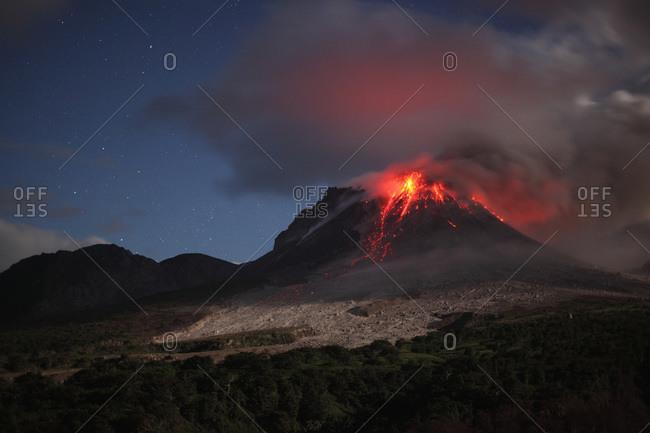 Montserrat- Caribbean- Lava flowing from soufriere hills volcano