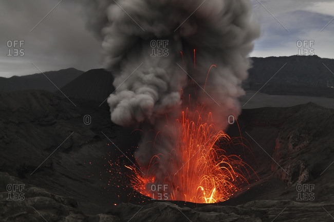 Indonesia- Java- View of lava erupting from Bromo volcano