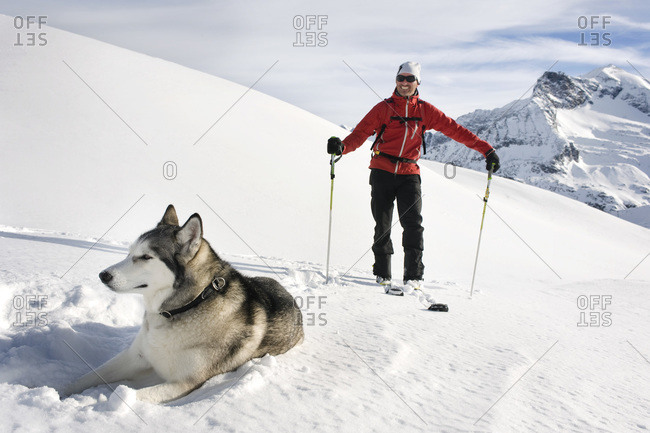 Austria- Man skiing with Avalanche Dog in snow