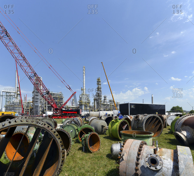 Germany- Saxony-Anhalt- inspection work in an oil refinery