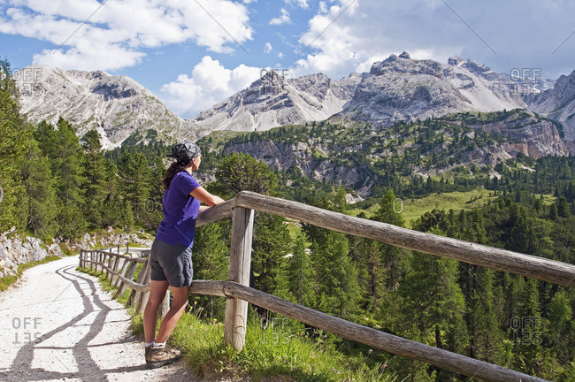 Italy- South Tyrol- Dolomites- Fanes-Sennes-Prags Nature Park- hiker looking at view