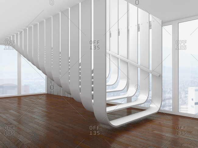 Modern white staircase at an empty room- 3D rendering