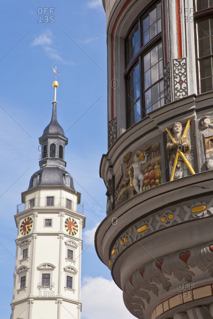 Germany- Thuringia- Gera- View of town hall and decorated Stadtapotheke building at market place