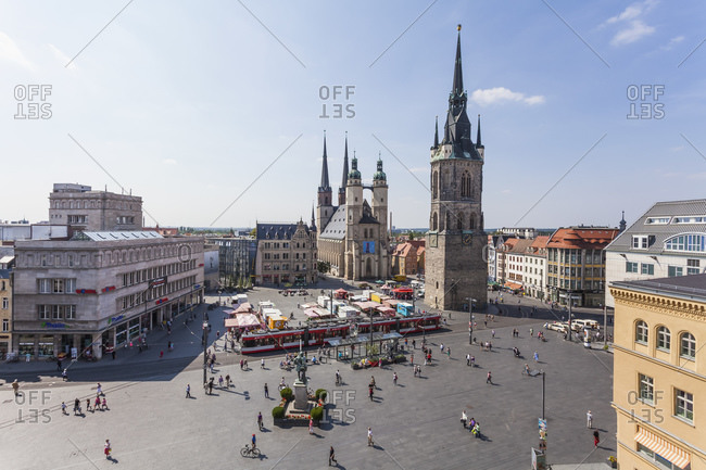 Germany- Saxony-Anhalt- Hallle- Market Square with Red Tower- Haendel Memorial and Market Church