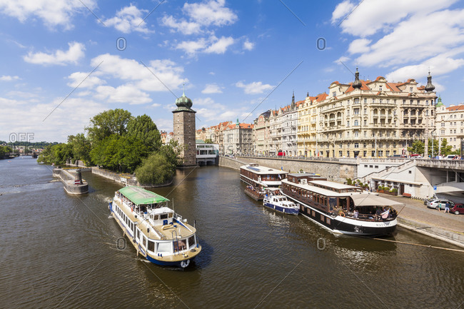 Czech Republic- Prague- Vltava- tour boat- hotel boat and restaurant Matylda