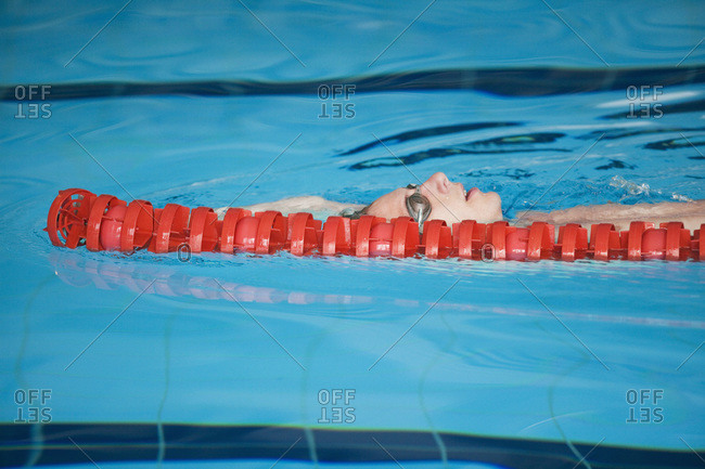 Swimmer backstroking