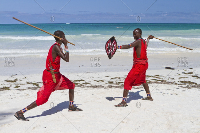Africa- Kenya- Coast Province- District Kwale- Diani Beach- fighting demonstration of the Massai