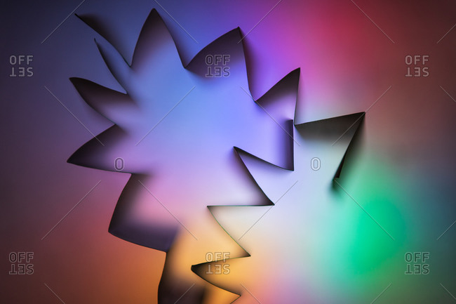 Modern festive abstract vector template with angular multicolored neon figures
