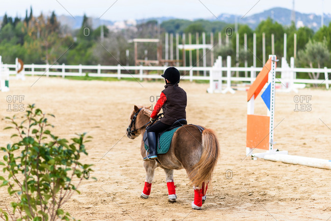 Back view of unrecognizable child in jockey costume sitting in saddle of a pony during lesson in horseback riding school
