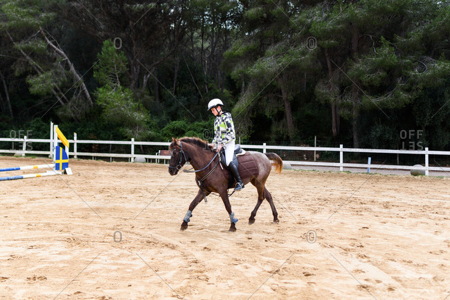 Teen boy jockey in helmet riding brown horse on dressage arena during training in equestrian school