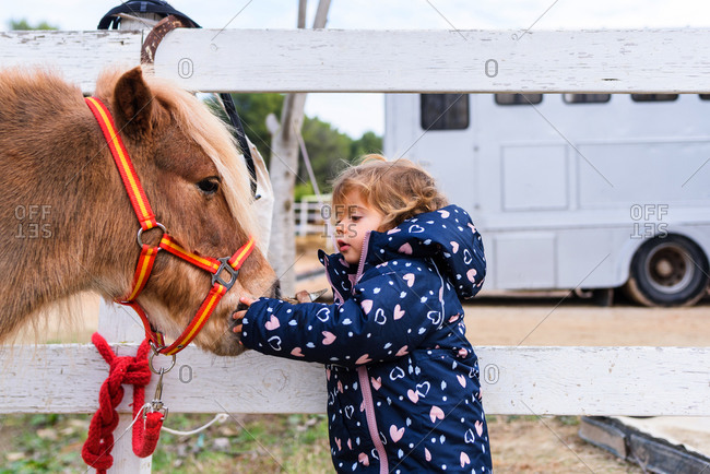 Side view of cute toddler in outerwear touching muzzle of adorable pony while standing near paddock barrier on ranch