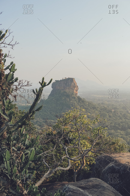 Breathtaking scenery of ancient rock fortress surrounded by forest and located in Sri Lanka