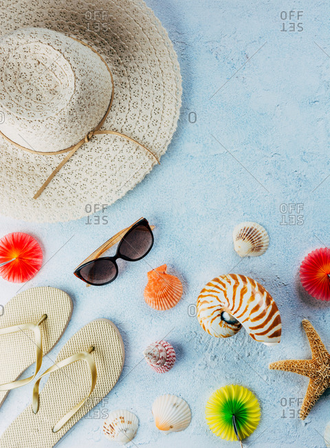 Top view of various seashells placed near colorful cocktail decorations and stylish summer accessories on blue plaster surface