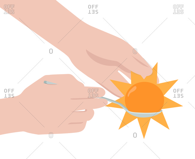 Hands holding a spoon with an egg that looks like the sun