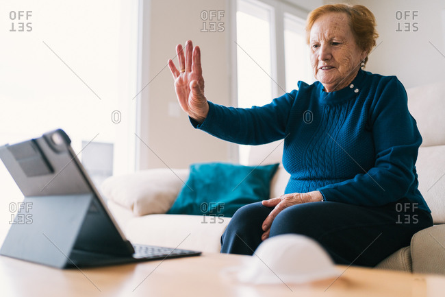 Senior woman communicating with friend during video chat on laptop