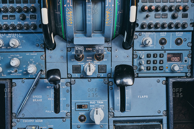 Fire buttons on control panel in cockpit