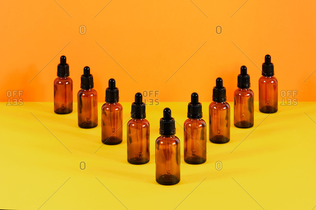 glass vials with dropper system for medical use V composition