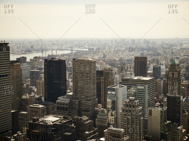 January 1, 2013: Aerial view of modern New York city district with glass high rise towers in sunlight