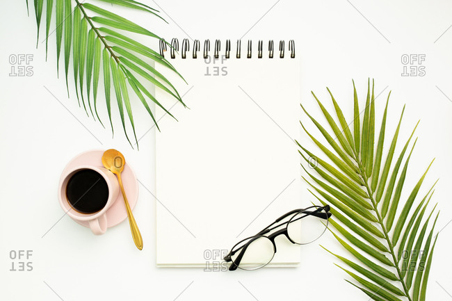 Top view of opened spiral bound notepad with blank pages placed on white background with palm leaves and trendy eyeglasses
